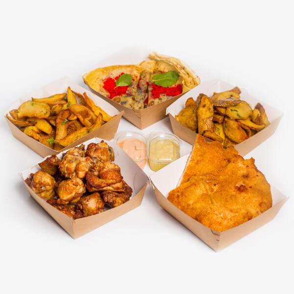 Meniu Aripioare de pui + Snitel de pui+ 2 portii cartofi proaspeti, prajiti + sos Calypso + sos de usturoi + 2 Clatite cu ducleata delivery livrare food comanda order Bucuresti