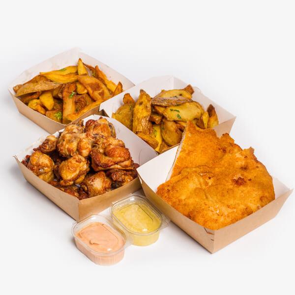 Meniu Aripioare de pui + Snitel de pui + 2 portii cartofi proaspeti, prajiti + sos Calypso + sos de usturoi delivery livrare food comanda order Bucuresti