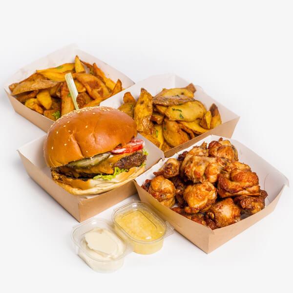 Meniu Cheeseburger + Aripioare de pui + 2 portii cartofi proaspeti, prajiti + sos de maioneza + sos de usturoi delivery livrare food comanda order Bucuresti