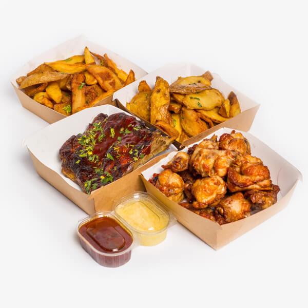 Meniu Coaste de porc marinate + Aripioare de pui + 2 portii cartofi proaspeti, prajiti + sos BBQ + sos de usturoi delivery livrare food comanda order Bucuresti