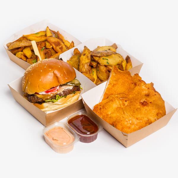 Meniu Hamburger + Snitel de pui + 2 portii cartofi proaspeti, prajiti + sos Calypso + sos BBQ delivery livrare food comanda order Bucuresti