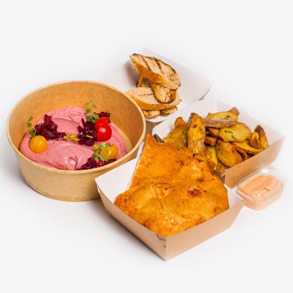 Meniu Humus cu sfecla coapta si seminte de dovleac + Snitel de pui + cartofi proaspeti, prajiti + sos Calypso delivery livrare food comanda order Bucuresti