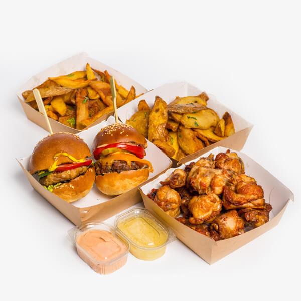 Meniu Two Pack Mini Burgers - Cheddar & Beef + Chickenrella + Aripioare de pui + 2 portii cartofi proaspeti, prajiti + sos curry + sos de usturoi delivery livrare food comanda order Bucuresti