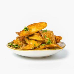 Cartofi proaspeti prajiti cu usturoi delivery livrare food comanda order Bucuresti