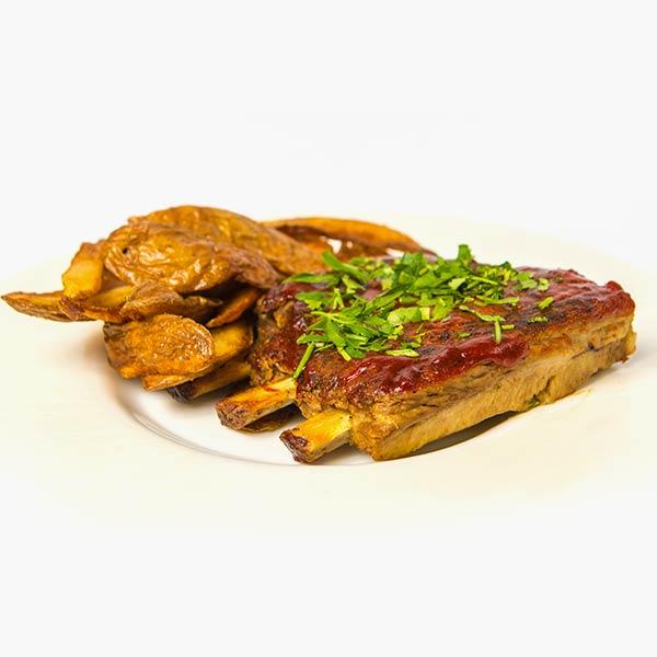Coaste de porc marinate si cartofi prajiti delivery livrare food comanda order Bucuresti
