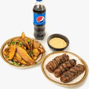 Meniu Mici + cartofi prajiti + mustar + Pepsi delivery livrare food comanda order Bucuresti